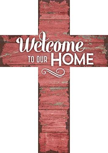 Welcome to Our Home Distressed Red Wood Wall Art Cross Plaque