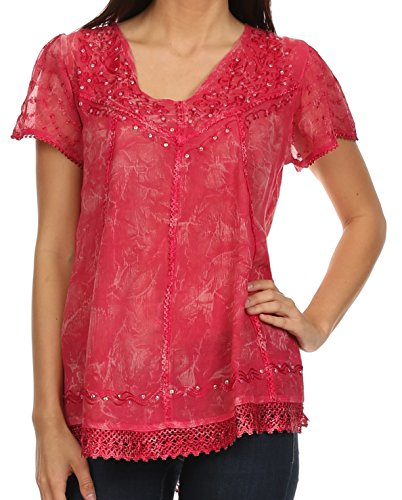 Sakkas 15774 - Hope Embroidery And Seqiun Accents Summer Blouse - Pink - (Sequin Peasant Top)