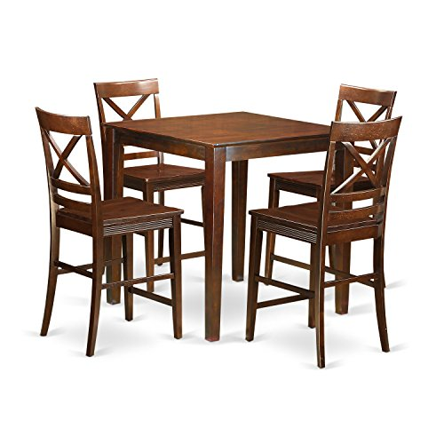 East West Furniture VNQU5-MAH-W 5 Piece Counter Height Pub Table and 4 Dinette Chairs (Pub Dinette)