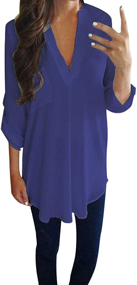 cdccedf3b799 Women Chiffon Top Duseedik Ladies Casual Long Sleeve V Neck Shirt T-Shirt  Blouse Blue