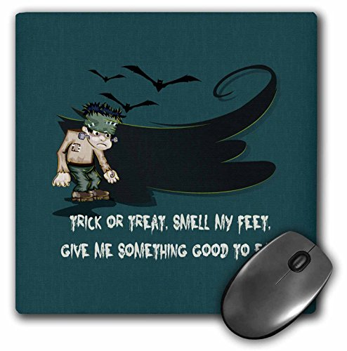 3dRose Dooni Designs Halloween Designs - Trick Or Treat Smell My Feet Saying and Frankenstein Monster Cartoon Funny Happy Halloween Design - MousePad (mp_150160_1)