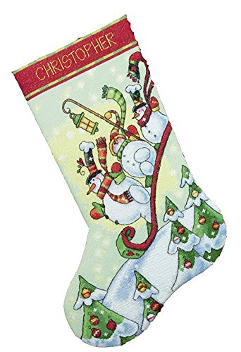 Dimensions Counted Cross Stitch 'Sledding Snowmen' Personalized Christmas Stocking Kit, 16
