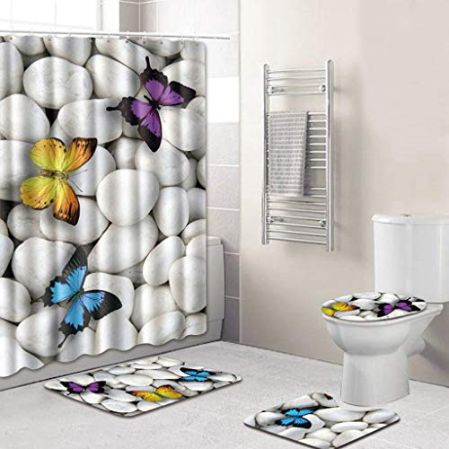 Alimao 4PCS Sea Style Non Slip Toilet Polyester Cover Mat Set Bathroom Shower Curtain