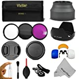 72MM Professional Accessory Kit for CANON (EF 35mm f/1.4L, EF 85mm f/1.2L II, EF 135mm f/2L), NIKON (85mm f/1.4, 18-200mm f/3.5 5.6G) Lenses - Includes: Vivitar Filter Kit (UV, CPL, FLD) + Carry Pouch + Lens Hoods (Tulip and Collapsible) + Flash Diffuser Set + Lens Caps (Center Pinch and Snap On) + Cap Keeper Leash + Deluxe Cleaning Kit + MagicFiber Microfiber Lens Cleaning Cloth