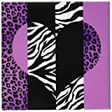 3dRose LLC Purple Black and White Animal Print Leopard and Zebra Heart Ceramic Tile Coaster, Set of 4