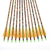 "Lot of 12pcs 30"" Long Camo Aluminum Arrow 8.8mm Shaft Aluminum Arrows for 30-80lbs Compound Bow & Long Bow Spine 300"