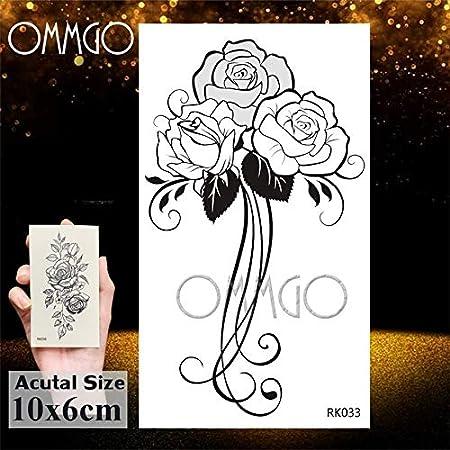 Yyoutop 3D DIY Flor Rosa y Etiqueta engomada del Tatuaje Hoja ...