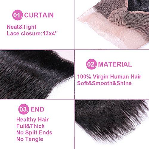 Sterly Brazilian Straight Hair 3 Bundles With Frontal Closure 13x4 Ear To Ear Lace Frontal With Bundles Unprocessed Virgin Human Hair Extensions Natural Color (18 20 22 +16) by Sterly (Image #5)