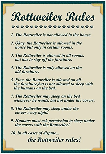 Rottweiler House Rules Poster with Hanger