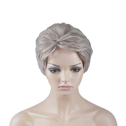 OUO peluca de pelo Women s Peluca Corta Peluca Bob cabeza gris plateado alta temperatura