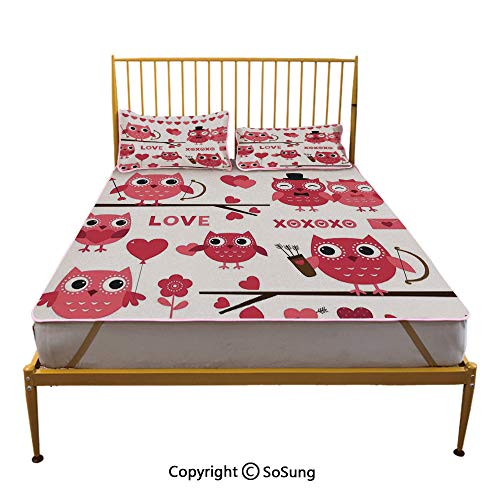 Animal Decor Creative King Size Summer Cool Mat,Owls Illustration with Romantic Elements Arrow Eyesight Partners in Amour Artful Design Sleeping & Play Cool Mat,Red White
