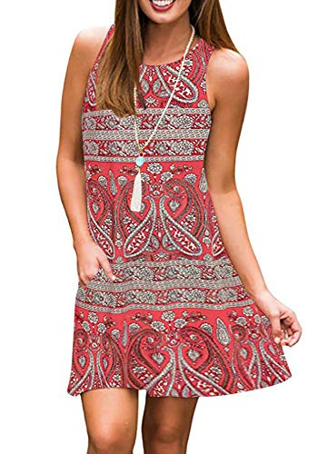 Tshirt Dresses for Women Summer Beach Boho Sleeveless Floral Sundress Pockets Swing Casual Loose Cover Up(Red,Small)