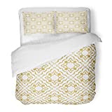SanChic Duvet Cover Set Vintage Abstract Floral Intersecting Curved Elegant Golden Leaves Scrolls Forming in Arabian on White Decorative Bedding Set Pillow Sham Twin Size