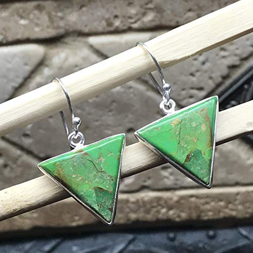 Gorgeous Green Copper Turquoise 925 Solid Sterling Silver Drop Earrings 30mm Long