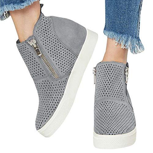 Faux Suede Hidden Platform - Women's Platform Sneakers Hidden Wedges Side Zipper Faux Suede Perforated Ankle Booties
