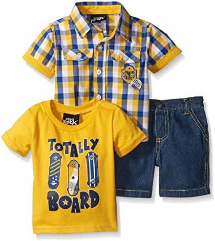 Baby Boys' Rock 3 Pc Short Set Plaid Board, Value Not Found, Value Not Found
