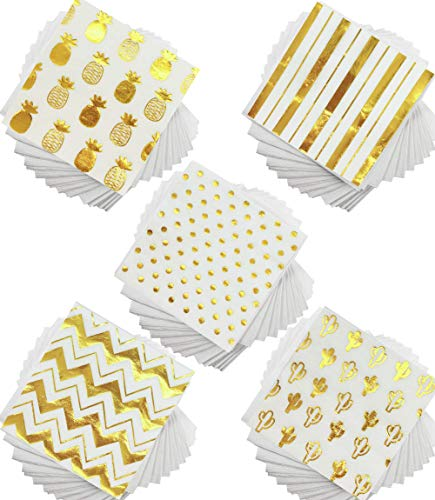 (100 Gold Foil Cocktail Napkins | 5 Assorted Designs Folded 5 x 5 Inches Disposable Party Napkins Beverage Napkins | Bulk White Paper Napkins Are Perfect for Dinner, Wedding, Baby Shower, Bridal Shower)