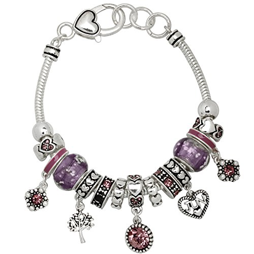 Falari Birthstone Bracelet Multi-Color Charm Beads Silvertone June OB07234-JUN - July Birthstone Light