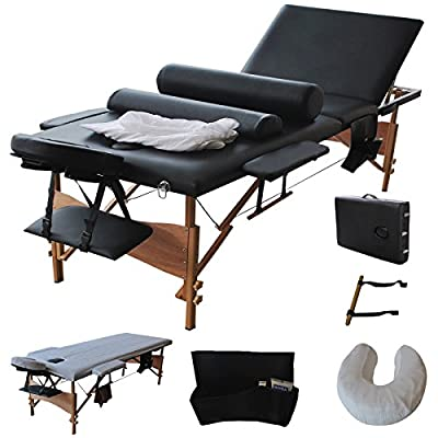 "Giantex 84""l 3 Fold Massage Table Portable Facial Bed W/sheet+cradle Cover+2 Bolster"