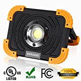 BONASHI 10W COB Rechargeable LED Work Light Cordless Heavy Duty Aluminum Body, Portable Outdoor Floodlight Camping Lamp Handheld and Stationary, 1100 Lumens, Built-in Battery with USB Port