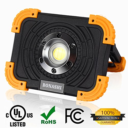BONASHI 10W COB Rechargeable LED Work Light Cordless Heavy Duty Aluminum Body, Portable Outdoor Floodlight Camping Lamp Handheld&Stationary, 1100 Lumens, Built-in Battery with USB - Stand Portable Heavy Duty Work