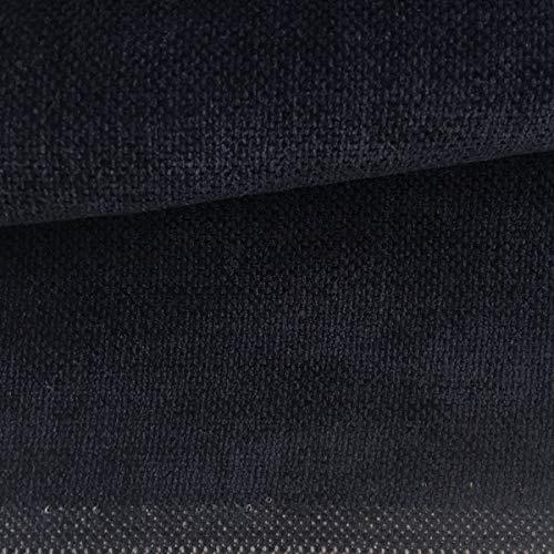 Tela de tapicería lisa - Chenilla - Tacto suave aterciopelado - Muy resistente - Retal de 100 cm largo x 140 cm alto | Azul marino