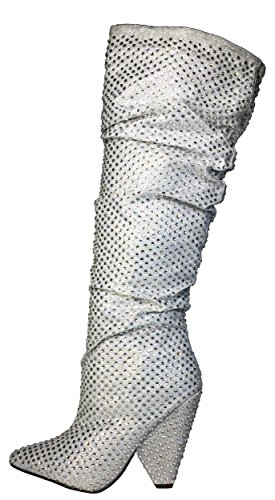 Bamboo Womens Embellished Slouch Boot In Rhine Stones Silver q9tq4
