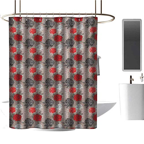 Qenuan Shower Curtain Liner Red and Black,Blossoming Peonies Vintage Botanical Composition Abstract Petals and Buds,Multicolor,Rustproof Metal Grommets Bathroom Shower Curtain 54