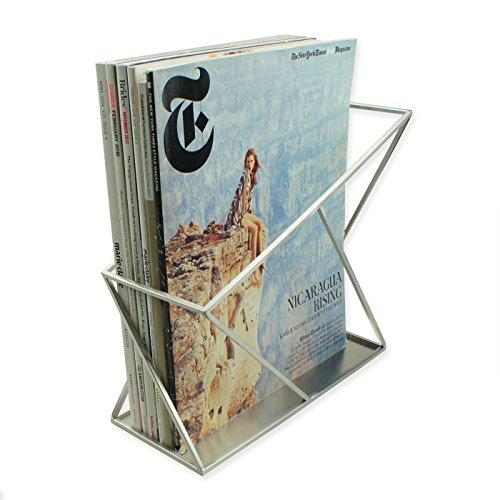 ArtsOnDesk Modern Art Magazine Holder st214 Stainless Steel Satin Finish Patent Applying for-File Holder Newspaper Book Brochure Rack Organizer Box Basket Christmas Thanksgiving Gift ()