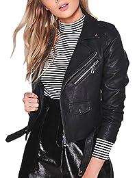 Ladies Womens Leather Biker Jacket Black Fitted Bikers Style Vintage Rock