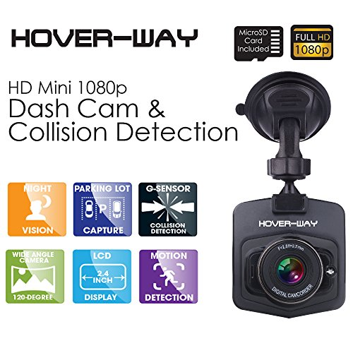 Hover-Way HD Mini Auto-Black Box DVR Dash Cam (Includes Camera, Suction Cup Mount, Car Charger, Micro USB Cable, and 8GB microSD Card) - Black by Hover-Way