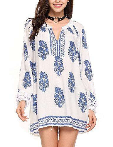 SoTeer Women Casual Boho O-Neck 3/4 Sleeves Shirt Blouse Top Blue S