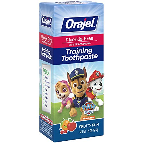 51chzhpt FL - Orajel Paw Patrol Fluoride-Free Training Toothpaste, Fruity Fun Flavor, One 1.5oz Tube: Orajel #1 Pediatrician Recommended Brand For Kids Non-Fluoride Toothpaste