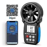 HOLDPEAK HP-866B-APP Digital Anemometer Handheld APP with Wireless Bluetooth Vane Wind Speed Meter for Measuring Wind Speed, Temperature, Wind Chill with Backlight (Black)