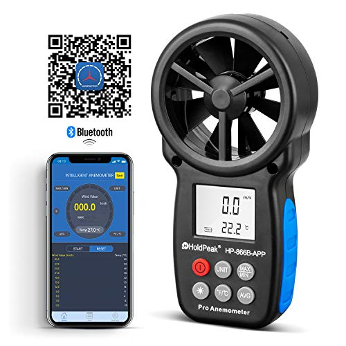 HOLDPEAK 866B-APP Digital Anemometer Handheld APP with Wireless Bluetooth Vane Wind Speed Meter for Measuring Wind Speed, Temperature, Wind Chill with Backlight (Black) ()