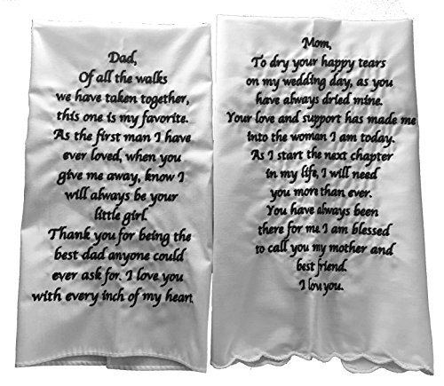 Wedding Tokens Mother Of The Bride And Father Of The Bride Wedding Handkerchief Set Embroidered By