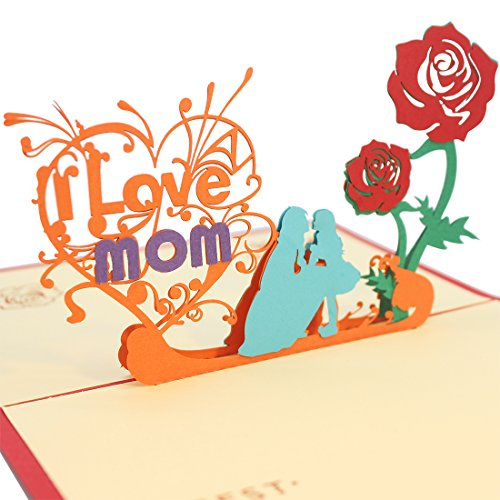 Beautiful 3D Pop Up Mom Greeting Card for Mom, Mother's Day and Birthday Greeting Card. I Love Mom Card with Envelope. (Funny Valentines Day Cards For Your Mom)