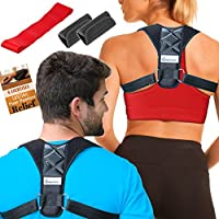 """Back Posture Corrector for Men & Women, Adjustable (28""""- 48"""") Shoulder Clavicle Brace for Back Support and Pain Relief, Comfortable Figure 8 Shape to Prevent Slouching by INSPIRATEK"""