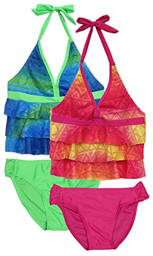21c121a3fc0c Galleon - 'Real Love Girls 2 Pack Tankini Bathing Suit Separates, Blue  Green & Red Yellow, Size 4