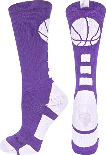 Purple Basketball Shoe - MadSportsStuff Basketball Logo Athletic Crew Socks, Medium - Purple/White
