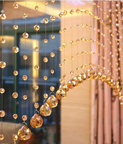Decorative Door String Curtain Beads,Jushye 1 Luxury Glass Beads Crystal Tassel Curtain Home Party Wedding Divider Panel Room Decor (Gold)