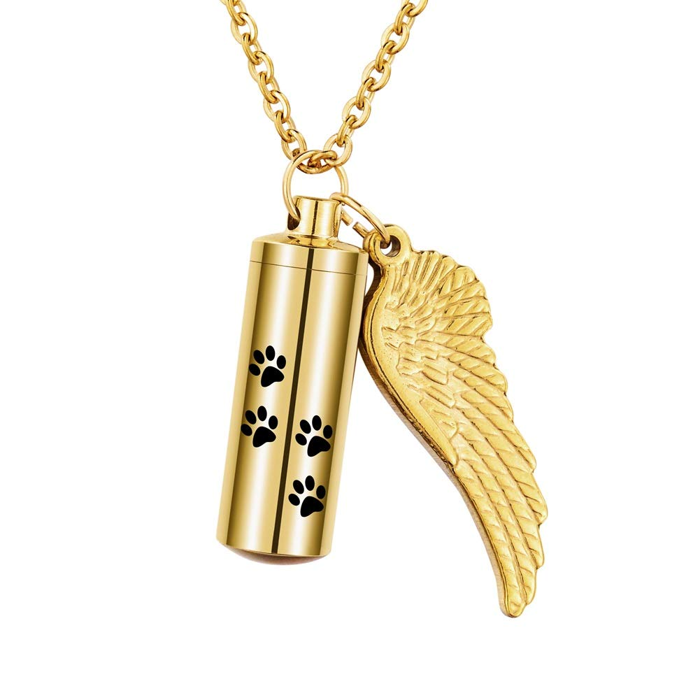 Valyria Cylinder Cremation Jewelry Urn Necklace for Ashes with Angel Wing Charm Gold Stainless Steel Personalized Jewelry