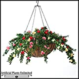 Prepopulated 22inch Hanging Basket with Cream and Red colored Artificial Azaleas