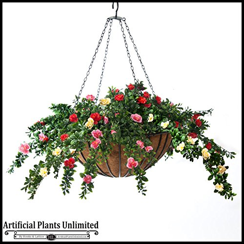 Prepopulated 22inch Hanging Basket with Cream and Red colored Artificial Azaleas by Windowbox