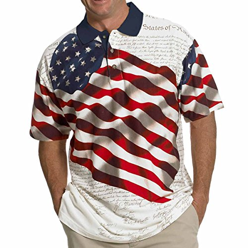 Natural Stripe Shirt - Men's Stars & Stripes Polo T-Shirt (XXL, Natural)