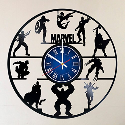 (MY GIFT STORE AVENGERS IRON MAN TEAM 12 INCH/30 CM VINYL RECORD WALL CLOCK MARVEL UNIVERSE INFINITY WAR AVENGERS - GIFT FOR BOYS - Gift idea for children, teens, adults)