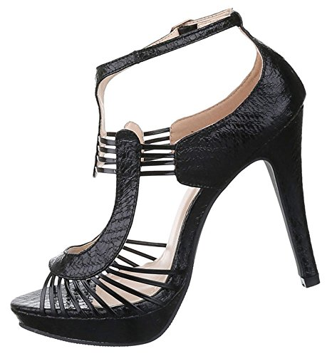 Damen Sandaletten Schuhe High Heels Pumps Stilettos Plateau Schwarz Silber 36 37 38 39 40 41 Schwarz
