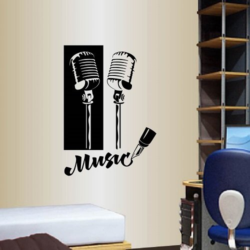 Wall Vinyl Decal Home Decor Art Sticker Music Microphone Bedroom Recording Studio Boy Kids Living Room Removable Stylish Mural Unique ()