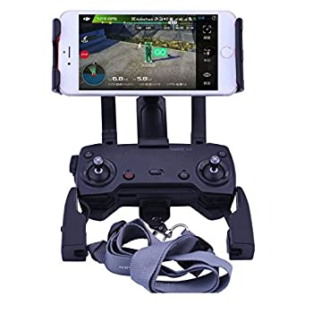 DJI Mavic Air Pro Spark Accessories, Qubuy Adjustable Remote Controller Mount Holder, 4-12 Inch Phone Tablet Extended Mount Holder With Neck Strap Foldable Bracket for DJI Mavic Air Pro Spark