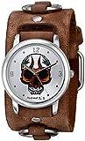 De los hombres némesis 924BFRBS enojado con calavera de cuarzo japonés con visualización analógica marrón reloj